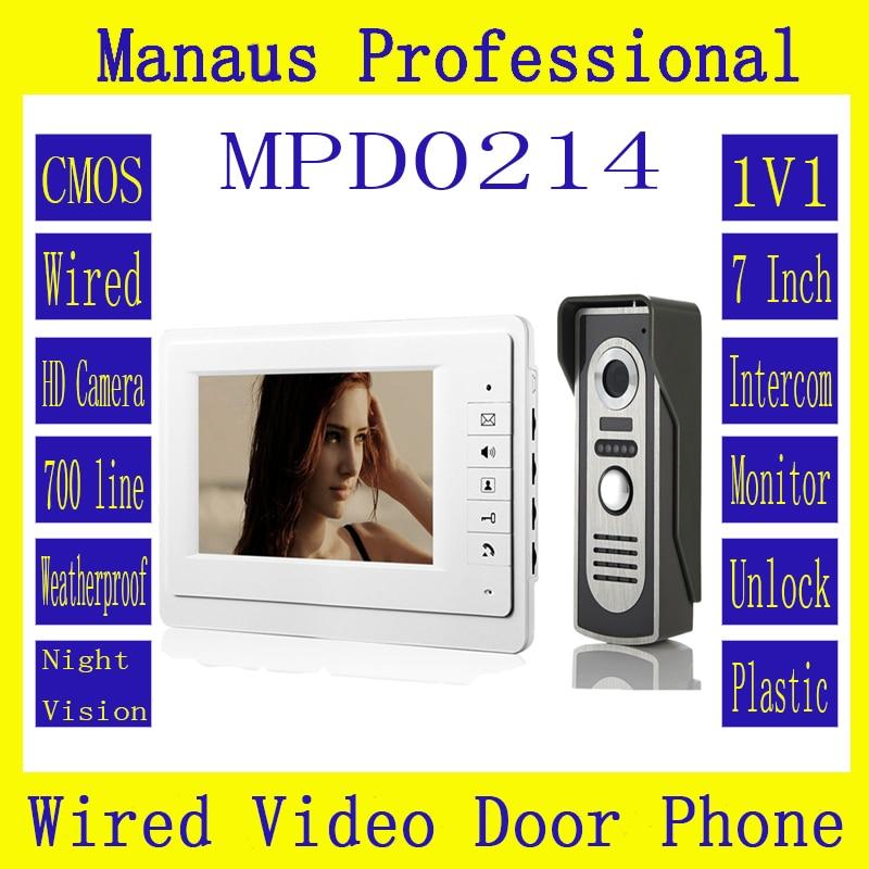 цена HighQuality Professional SmartHome 7 Inch TFT LCD Screen Video Intercom Phone,One to One Video Doorphone Kit Configuration D214a