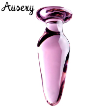 AUEXY Large crystal butt plug vagina ball pyrex glass anal beads dildo male penis masturbator adult product sex toys for women