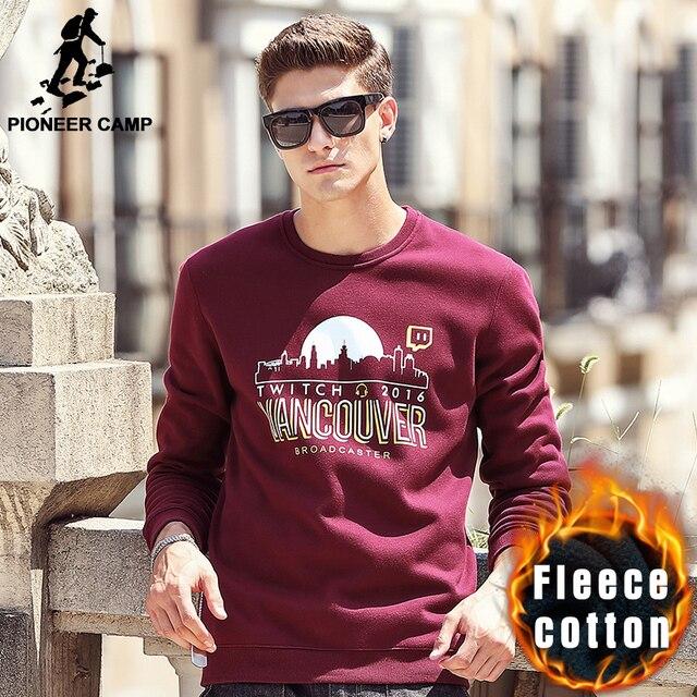 Pioneer Camp 2016 new fashion printed hoodies men brand clothing casual thicken fleece male sweatshirt black red blue 622182