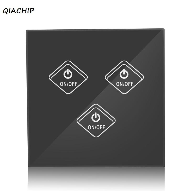QIACHIP UK WiFi Smart Wall Light Switch 3 Gang Waterproof Glass Touch Screen Panel APP Control For Amazon Alexa Google Home H3 smart home uk standard crystal glass panel wireless remote control 1 gang 1 way wall touch switch screen light switch ac 220v