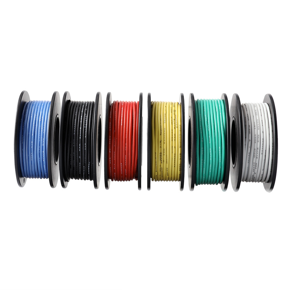 60m box 196ft Hook up Stranded Wire 26 AWG UL3132 Flexible Silicone Wire Rubber Insulated Tinned Copper 300V 6 Colors 10m color in Wires Cables from Lights Lighting