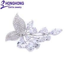 Honghong кубический цирконий растения Броши Булавки для женщин высокое качество свадебное платье ювелирные аксессуары
