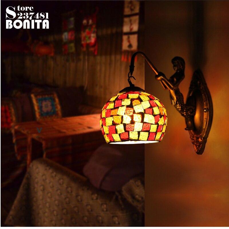 vintage wall lamp for home Mosaic Glass Wall Light Handmade Bohemian Bedroom Bedside sconces light