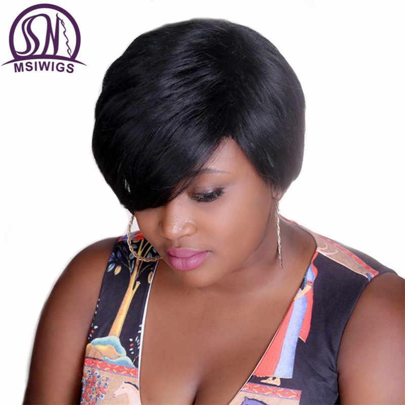 MSIWIGS Bobo Stijl Korte Pruiken voor Zwarte Vrouwen Hittebestendige Haar Natuurlijke Synthetische Rechte Zwarte Pruik Gratis Haarnetje