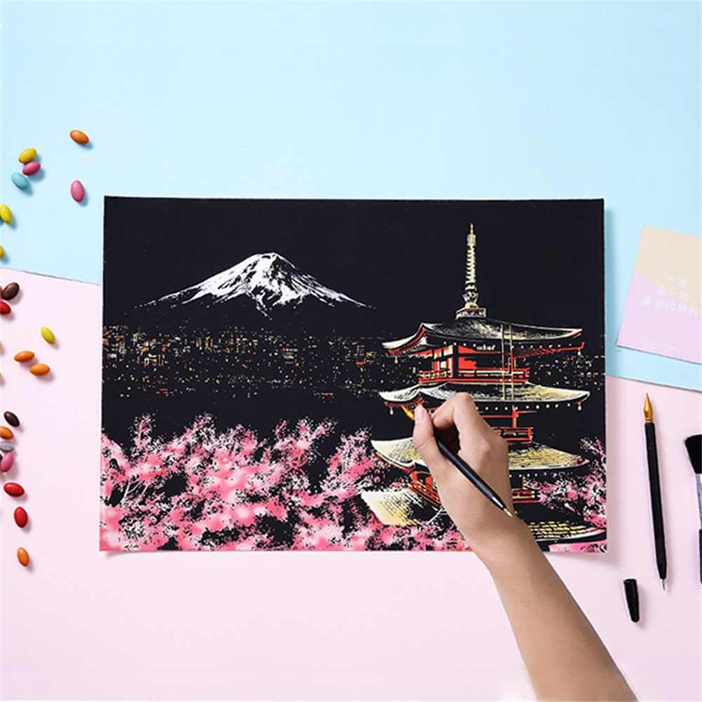 Creative DIY Scratching Painting Postcard Famous Buildings Fireworks Scratch Picture Scraper Tools Home Decor Birthday Gift