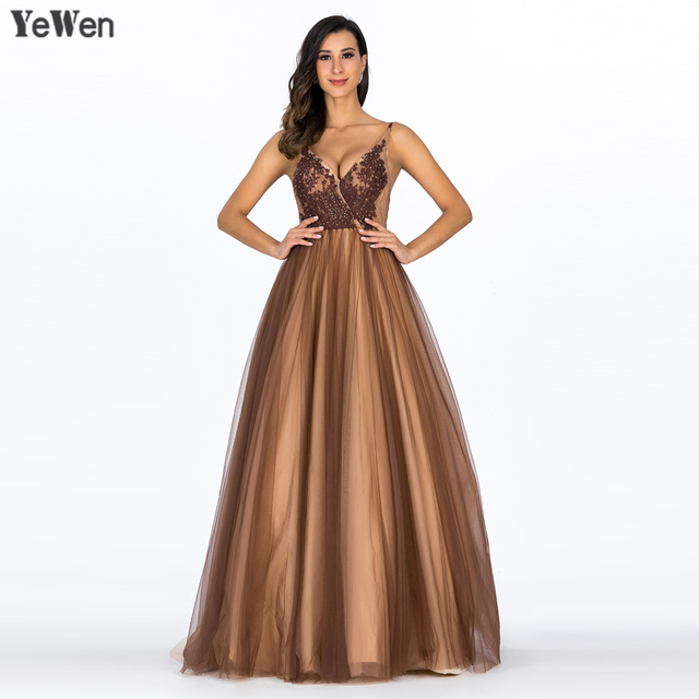Deep V Sexy Lace Evening Dresses Gorgeous Champagne Backless Sleeveless  Spagheti Strap Evening Gown Robe de soiree YM20028 539734c317a8