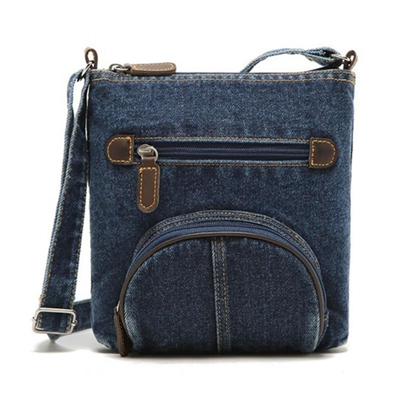 FGGS мода ретро denim crossbody сумка женщины классический холст сумочка повседневная молнии мягкая сумка малый сумки на ремне