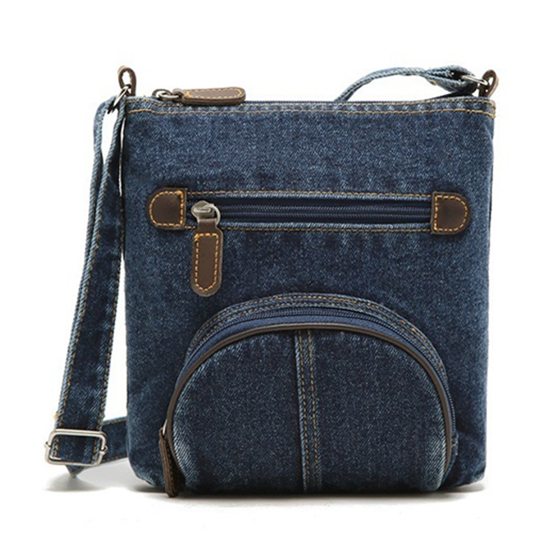 FGGS fashion retro denim crossbody bag women classic canvas pochette casual zipper soft messenger small shoulder