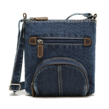 FGGS fashion retro denim crossbody bag women classic canvas pochette casual zipper soft messenger small shoulder bags