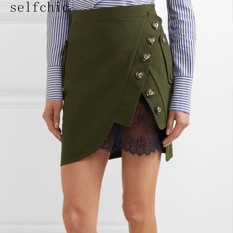 Self Portrait Mini Skirt 2017 Summer Women Elegant Lace Patchwork Cotton Skirts Jupe Femme