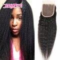 7A fechamento 4 x 4 Remy virgem Mongolian Kinky reta fechamento cabelo grosso Yaki fechamento com cabelo do bebê Natural preto