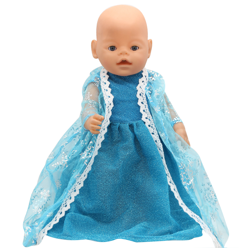 Baby Born Doll Clothes Elsa Blue Lace Princess Dress Fit 43cm Zapf Baby Born Doll Accessories Girl Birthday Gift X-156  baby born doll clothes pink retro princess dress fit 43cm baby born zapf or 17inch doll accessories high quality love 182