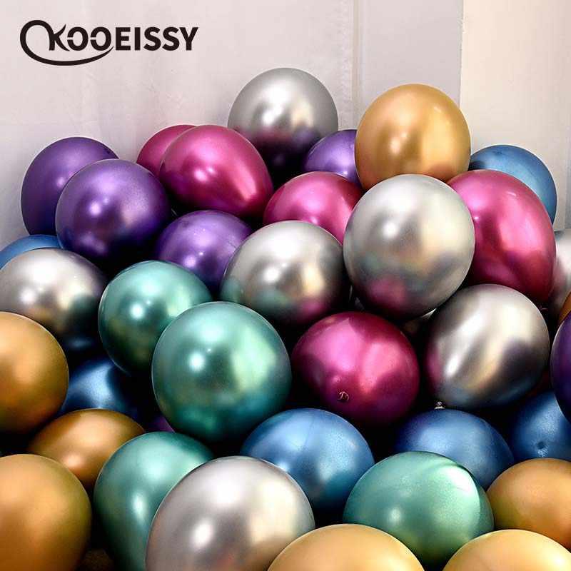 10pcs 12 polegada Ouro Prata Roxo Verde Mais Azul de metal balão casamento balão feliz aniversário latex ballon decoração de metal cromado