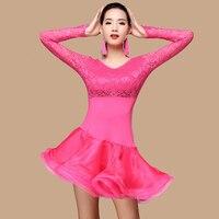 Autumn and winter new dance dress Latin performance clothing adult female lace long-sleeved gauze-do734