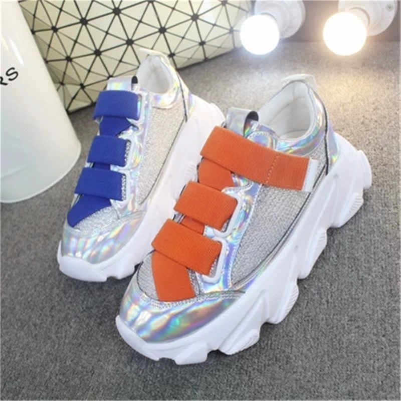 white sneakers women 5 CM 2019 New spring Sequin leather Mesh ladies Thick bottom Sneakers fashion casual shoes women