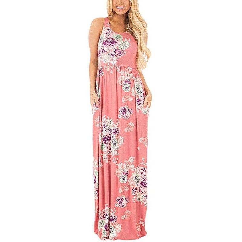⑤Boho Maxi vestido mujeres moda flores imprimir floral vestido sin ...