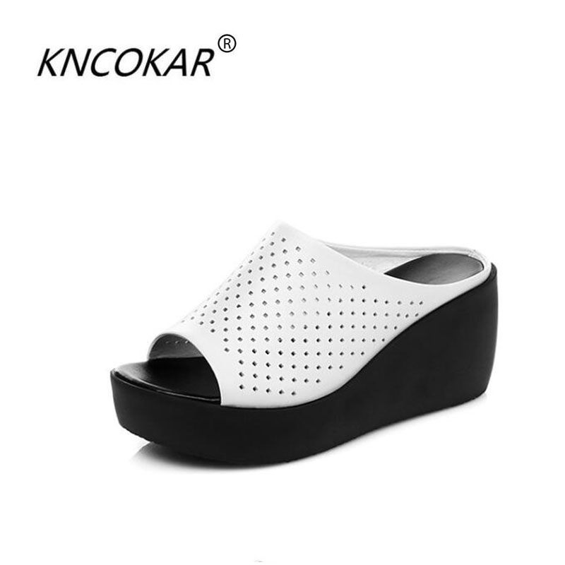 KNCOKAR 2018 Summer new style fashionable comfortable muffin slope heel fish mouth hollow real leather lady cool slipperKNCOKAR 2018 Summer new style fashionable comfortable muffin slope heel fish mouth hollow real leather lady cool slipper