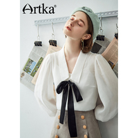ARTKA 2018 Autumn and Winter New Solid Pearl White Tie Bow Loose All match Women's Pullovers Blouse Shirt SA10782Q