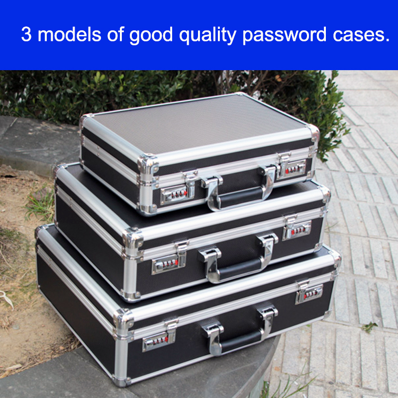 Aluminum Tool case suitcase toolbox password box File box Impact resistant safety case equipment Instrument remote control box цена