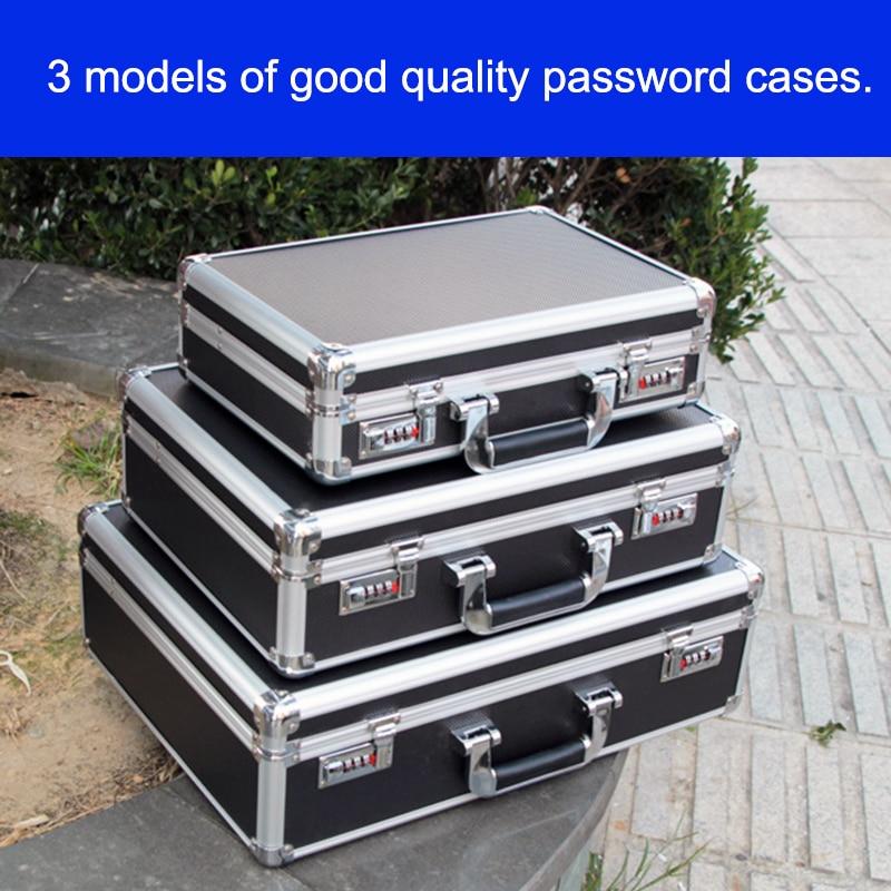 Aluminum Tool case suitcase toolbox password box File box Impact resistant safety case equipment Instrument remote control box
