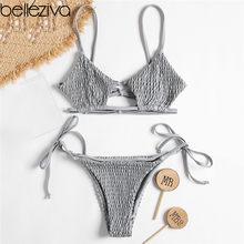 fc843f927c1d Belleziva baño mujeres Bikini Cami Smocked Bikini Top y Bottom bajo  atractivo Spaghetti Straps traje de baño mujeres bañador