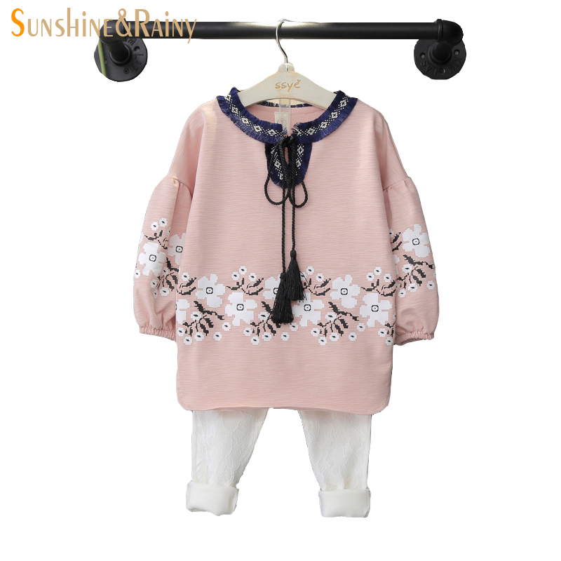Baby Girl Clothes 2pcs Long Sleeve Flower Print Shirt + White Lace Pants Spring autumn g ...