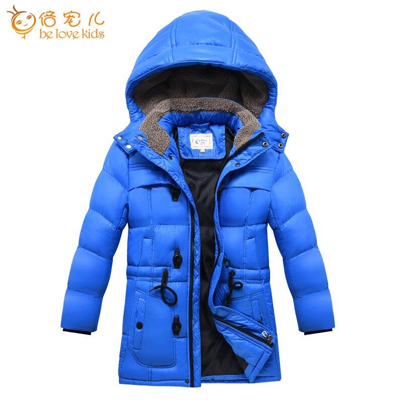 ФОТО Children Jacket Winter 2016 New Warm Cotton Padded Coat Medium Long Teenage Boys Down Coat Snow Wear Kids Clothing Boys PT1028