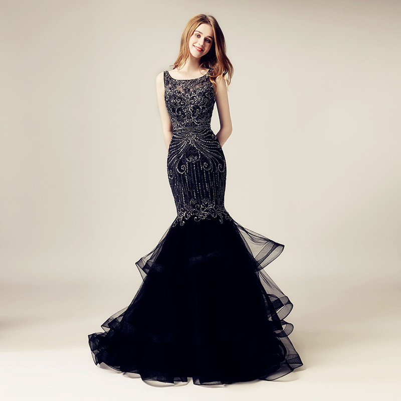 Gorgeous Lace Top Long Mermaid   Evening     Dresses   with Luxury Beading Crystal Tulle Sleeveless O-Neck Formal Gala Party Gowns OL492