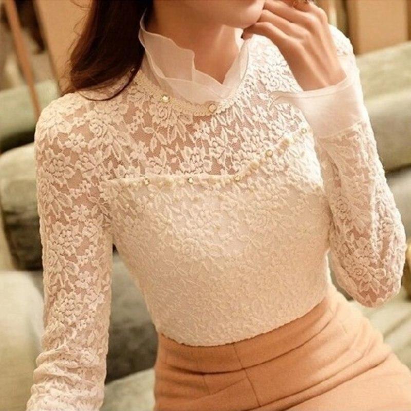 c01614f6ae ZH Lato Jesień Eleganckie Kobiety Bluzka Urząd Lady Casual Szyfon Koronki  Koszula Z Długim Rękawem