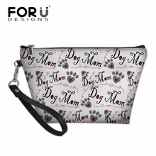 FORUDESIGNS Ladies Portable Travel Wash Bag for Make Up Women Dog Bone Paw Print Cosmetic Cases Feminine Makeup Storage Box