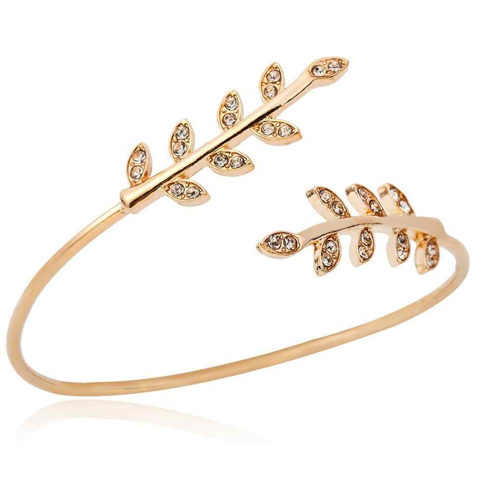 New Fashion Double Leaf Bracelet Bangles for Women Classic Gold Ajustable Wire Plant Leaf Cuff Bangles Wedding Gift