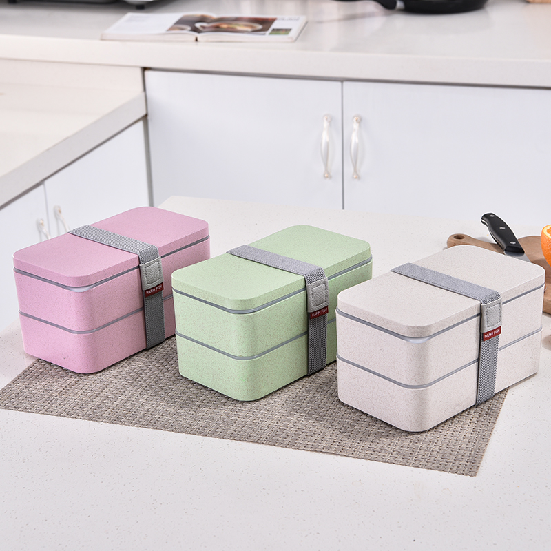 1200ml 밀짚 더블 레이어 점심 도시락 숟가락 건강한 재료 도시락 상자 전자 레인지 식품 저장 용기 도시락 상자