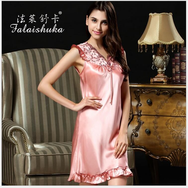 women 100% Silk Homewear   nightgown   brand pink extra large Woman   nightgowns     sleepshirts   sexy silk nightwear sleepwear