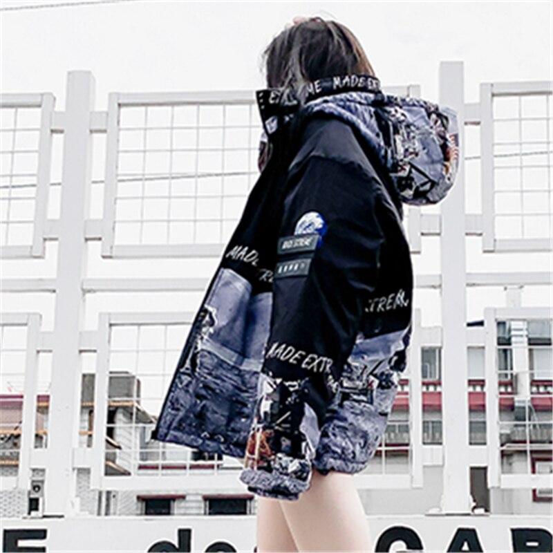 H0322 Mode hop Haute Femmes Qualité Impression D'hiver Longues De Manteau À Hommes 2018 Nouvelle Et Couple Coton Capuche Manches Black Hip qHU7nqY