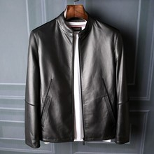 New Mens Sheepskin Leather Jacket High-end Stand Collar Casual Spring Autumn Leisure Coat