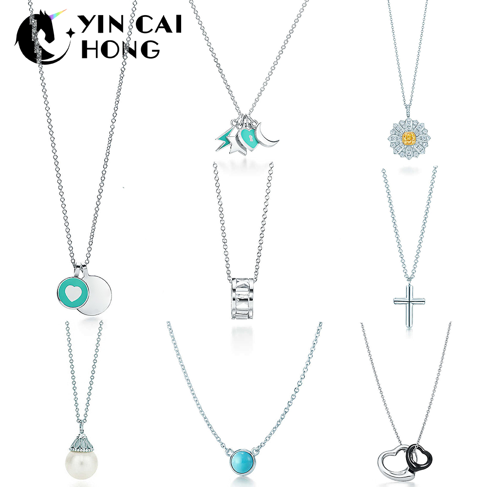 b3cf6d9d6c8a Cheap YCH Charm 925 plata esterlina estrellas Luna rayo corazón forma collar  perla Cruz clásico signo