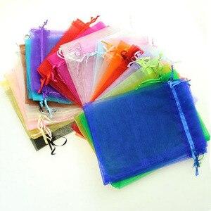 Image 3 - 100 pcs/lot 20x30, 25x35, 30x40, 35x50cm grande taille grands sacs en Organza pochettes à cordon pour noël mariage cadeau emballage sac