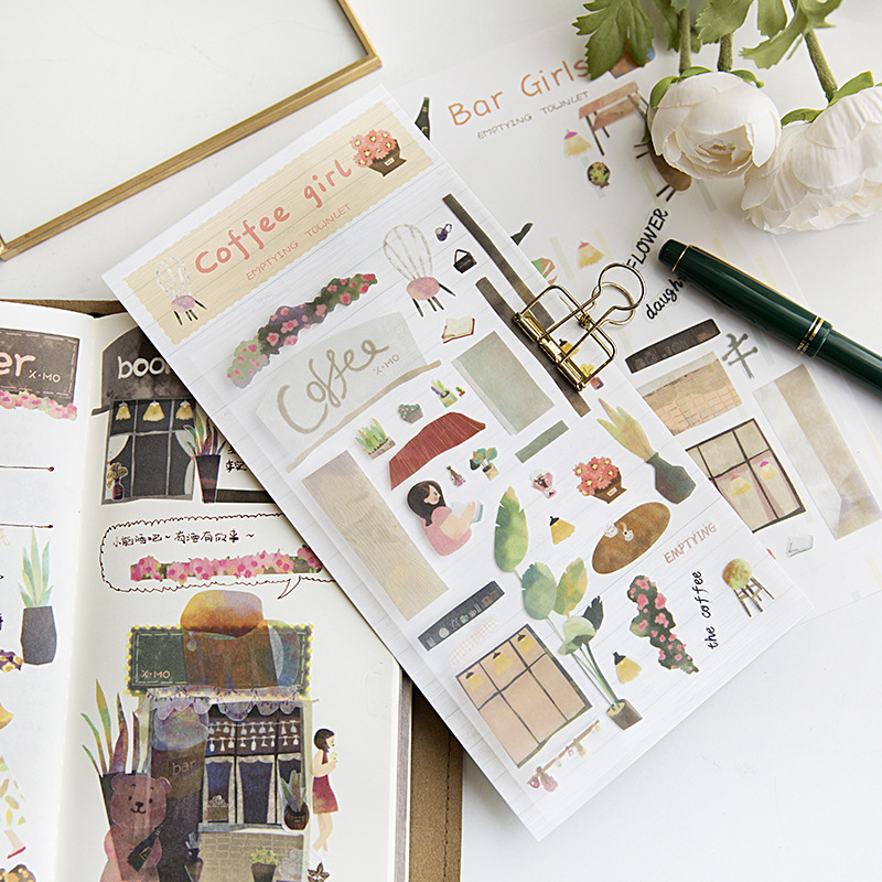 Empty Town Bar Girls Flower Bullet Journal Decorative Stickers Scrapbooking Stick Label Diary Stationery Album Stickers