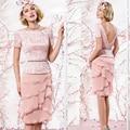 Мать невесты платья великолепная формальные 2015 новое поступление с колен кружева розовый шифон короткие рукава