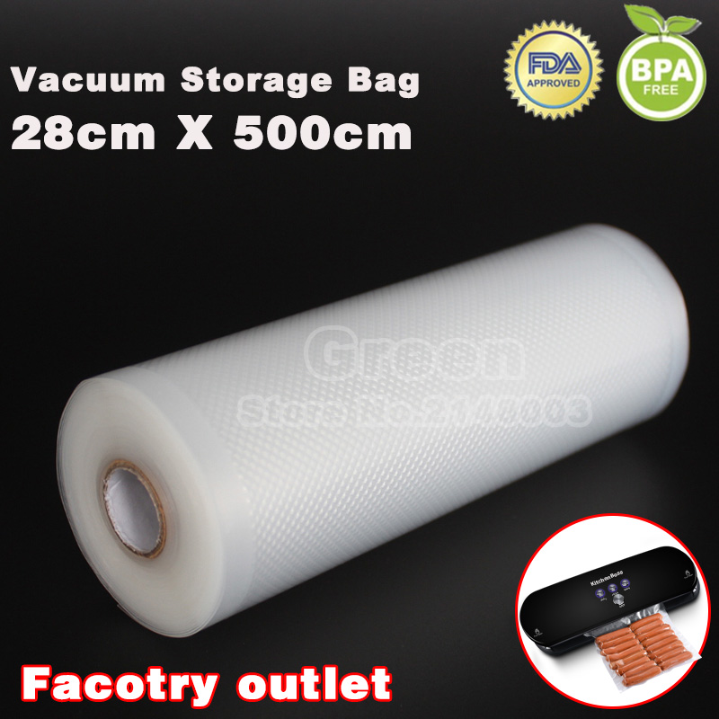 28cm x 500cm 1 Roll Fresh-keeping bag of vacuum sealer food storage bags packaging film keep fresh up to 6x longer multifunction outdoor picnic warm fresh cold food keeping storage handbag blue