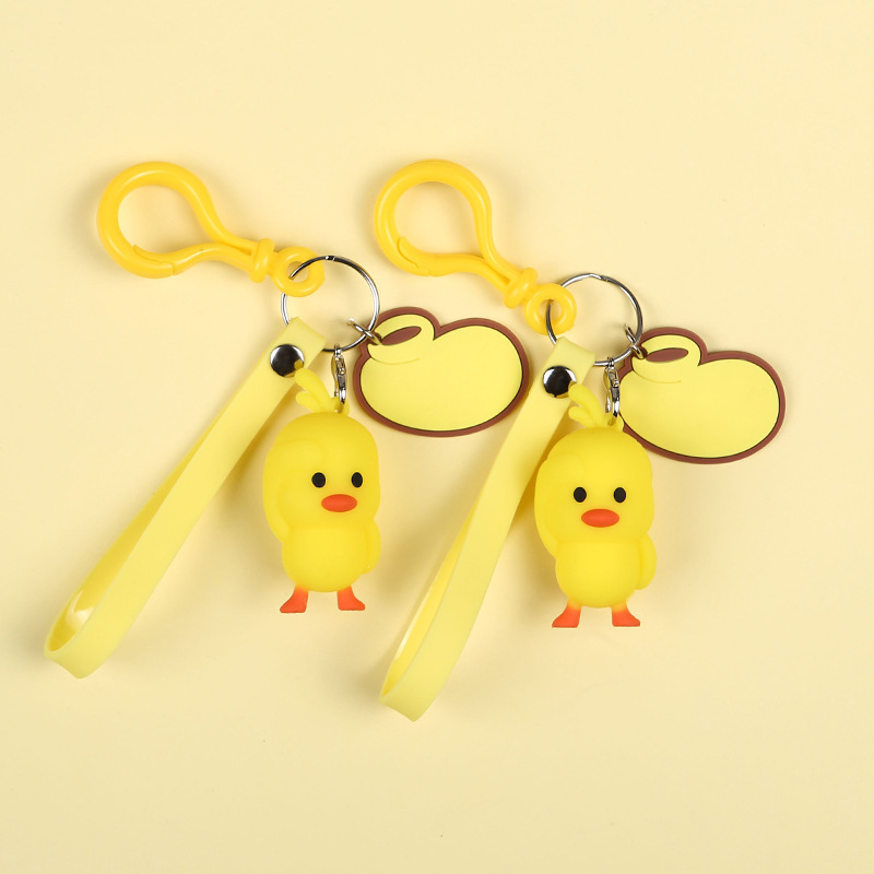 Little Yellow Duck Keychain Charm Pendant Decorative Silicone Key Chain Ring Fit Women Bag Accessory in Key Chains from Jewelry Accessories