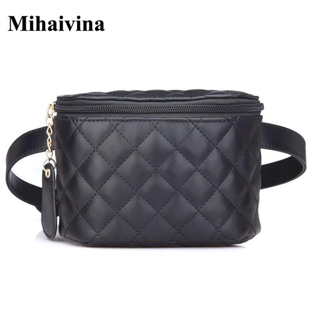 Mihaivina Fashion Women Leather Waist Bags Vintage Belt Casual Bags High Quality Women Fanny Waist Packs wallet Black