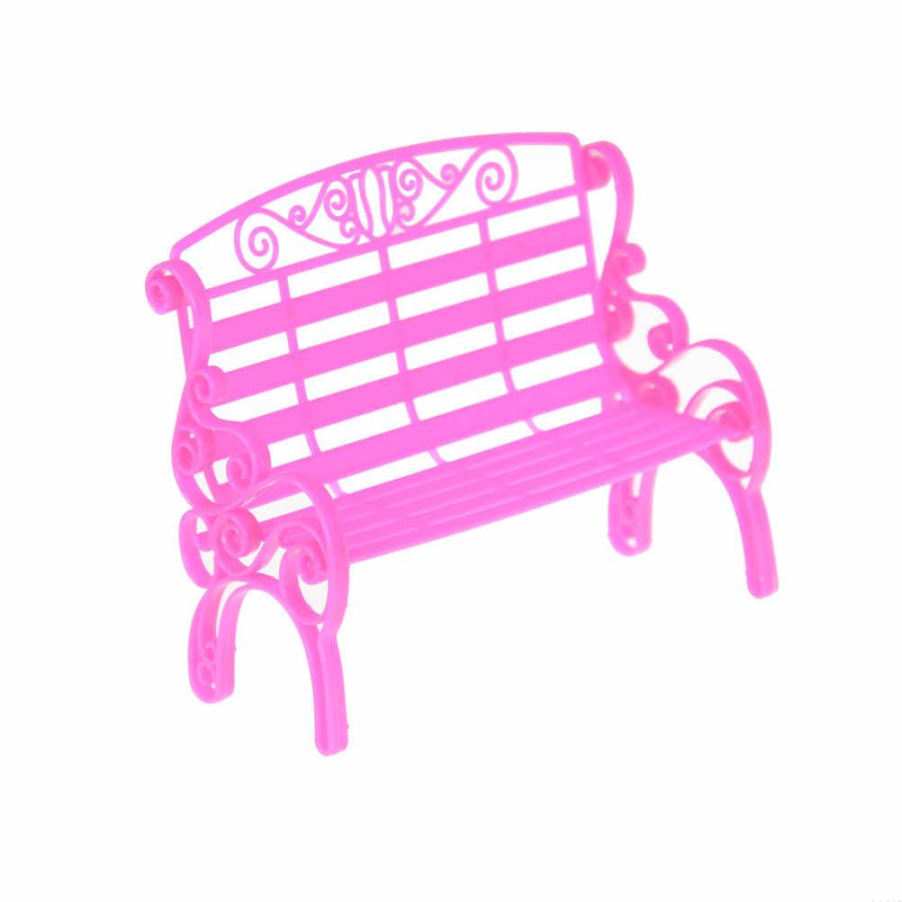 ピンクプラスチックガーデンパークロング椅子ドールハウスミニチュアキッズおもちゃ人形アクセサリー手作り