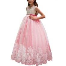 цены First Communion Dress for Girls Cutout Back Crystals Sash Lace Appliqued Flower Girl Prom Dress Customized Vestidos Longo