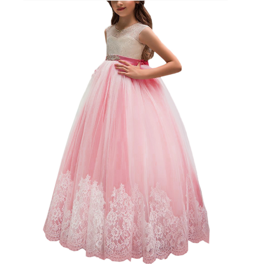 First Communion   Dress   for   Girls   Cutout Back Crystals Sash Lace Appliqued   Flower     Girl   Prom   Dress   Customized Vestidos Longo