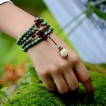 Этническая мужская браслет из бисера зеленый дракон крови камень длинной цепи Дзи бисер ожерелье стиль 2017 ювелирные изделия