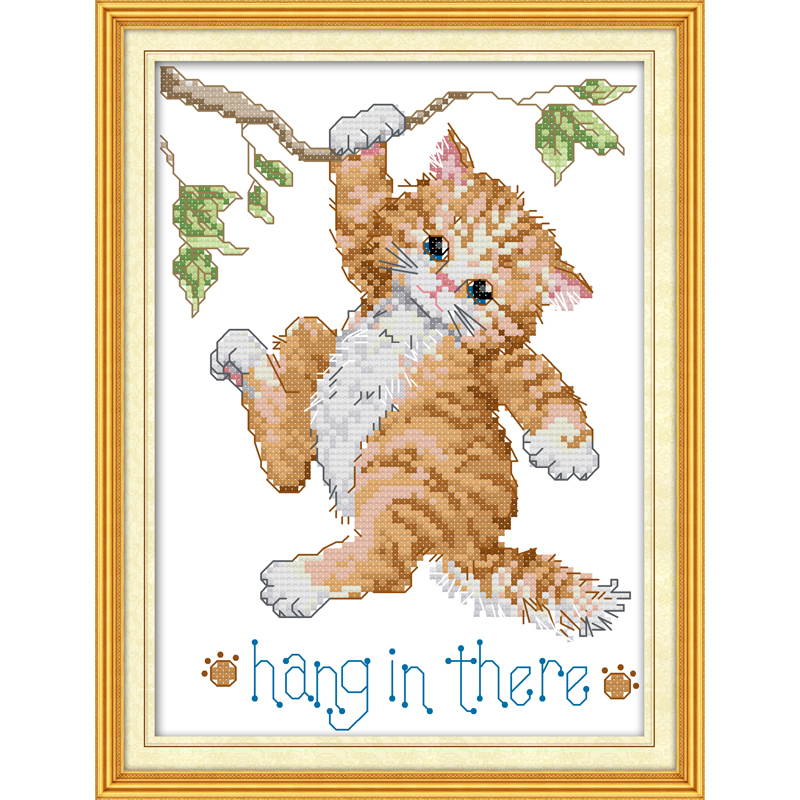 Everlasting love Hang in there Chinese cross stitch kits Ecological cotton stamped printed 14 11CT DIY gift new year decorations