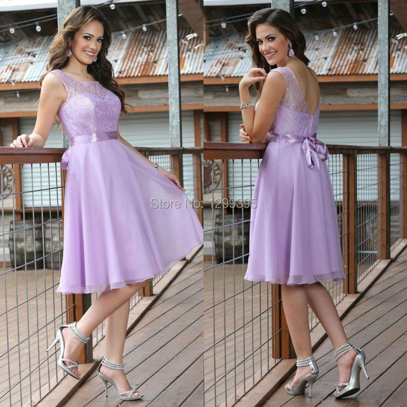 Light Purple Lilac Lavender corto vestido de dama de honor con el ...