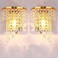 Left Right a pair of light chrome silver wall lamp sconce gold foyer living bedroom bedside wall lamp light sconce with crystal