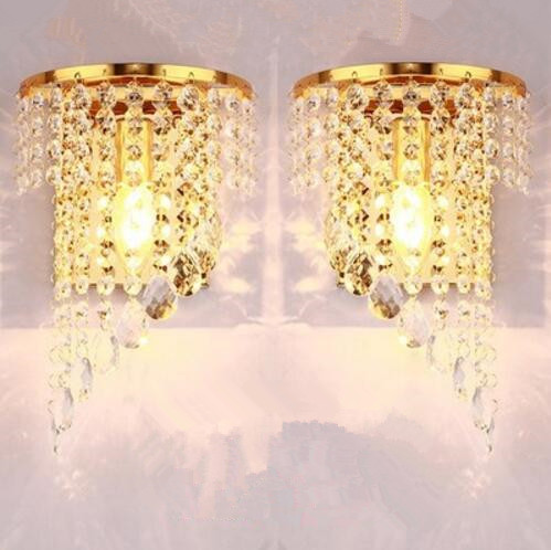 Left Right a pair of light chrome silver wall lamp sconce gold foyer living bedroom bedside wall lamp light sconce with crystal недорго, оригинальная цена